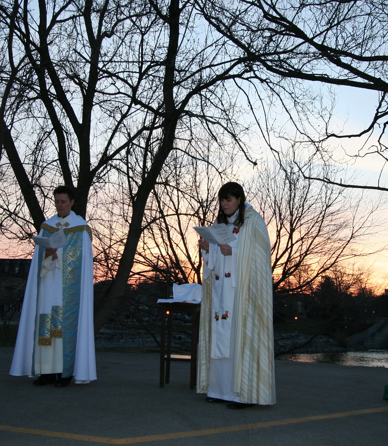 Easter Sunrise Service, priests performing service